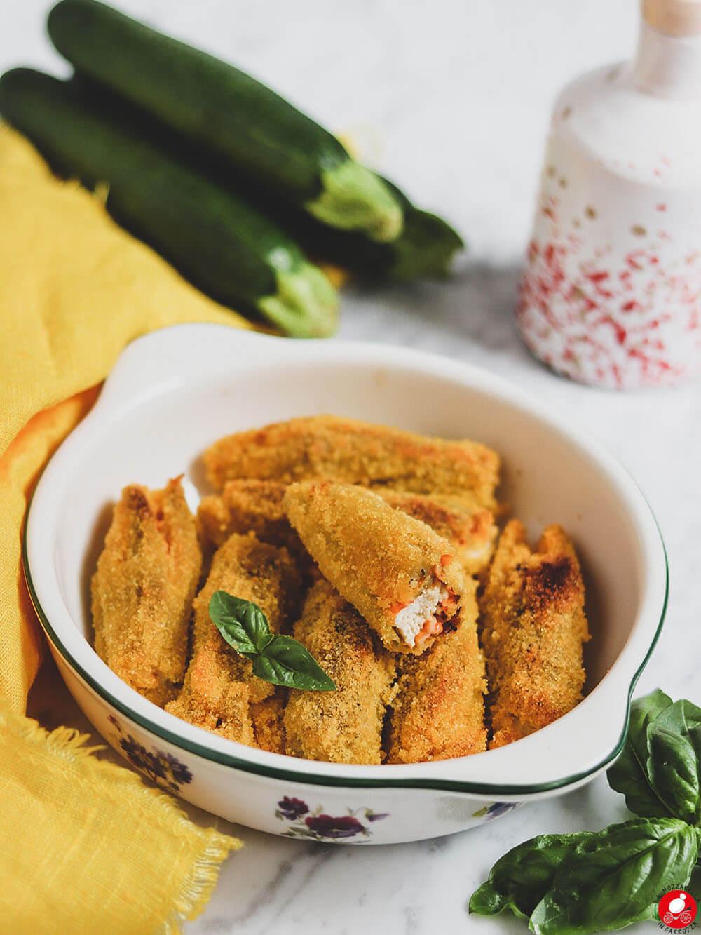 La Mozzarella In Carrozza - Fiori di zucca croccanti al forno